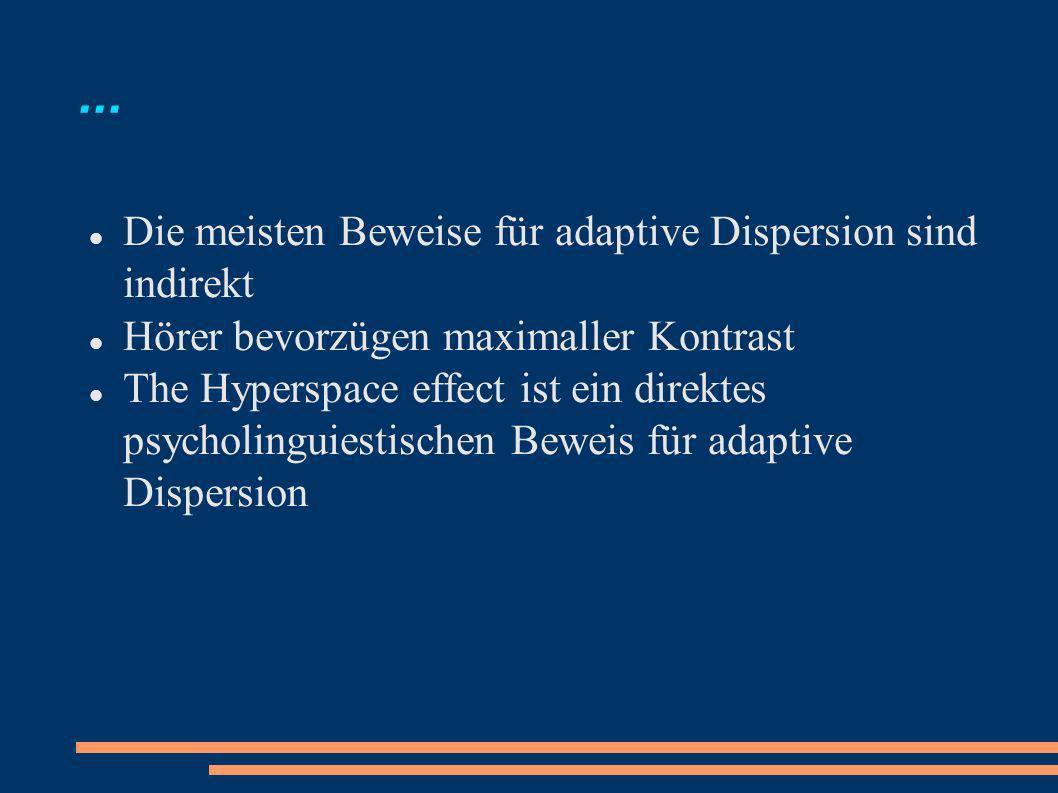 ... Die meisten Beweise für adaptive Dispersion sind indirekt Hörer bevorzügen maximaller Kontrast The Hyperspace effect ist ein direktes psycholingui