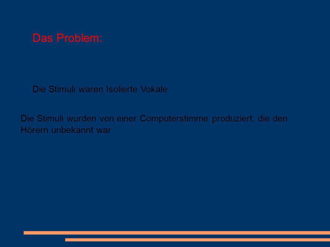 Das Problem: Die Stimuli waren Isolierte Vokale Die Stimuli wurden von einer Computerstimme produziert, die den Hörern unbekannt war