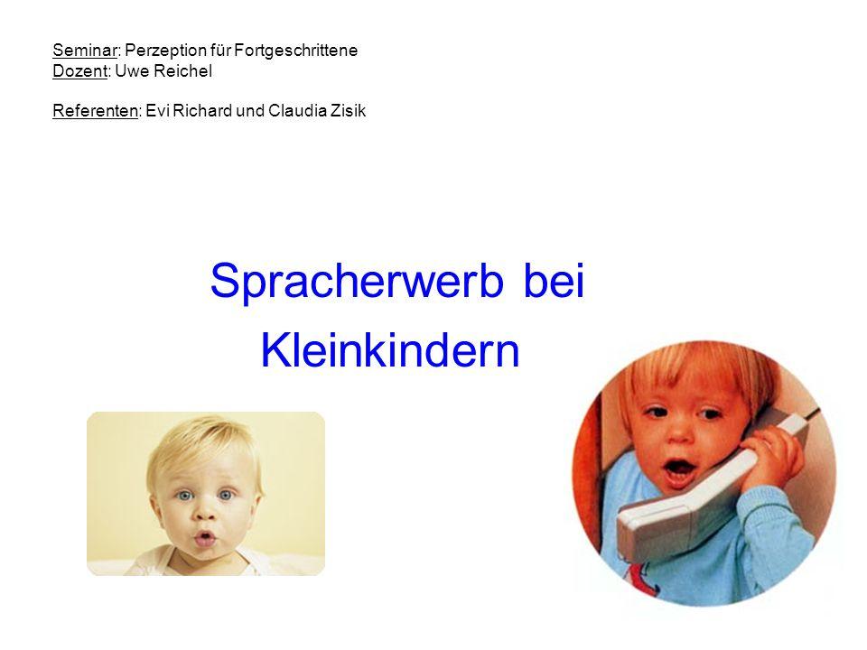 Seminar: Perzeption für Fortgeschrittene Dozent: Uwe Reichel Referenten: Evi Richard und Claudia Zisik Spracherwerb bei Kleinkindern