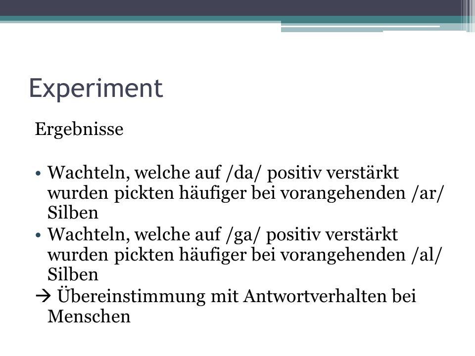 Experiment Ergebnisse Wachteln, welche auf /da/ positiv verstärkt wurden pickten häufiger bei vorangehenden /ar/ Silben Wachteln, welche auf /ga/ positiv verstärkt wurden pickten häufiger bei vorangehenden /al/ Silben Übereinstimmung mit Antwortverhalten bei Menschen