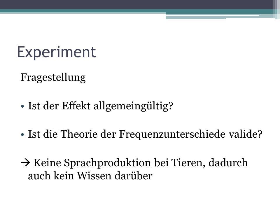 Experiment Fragestellung Ist der Effekt allgemeingültig.