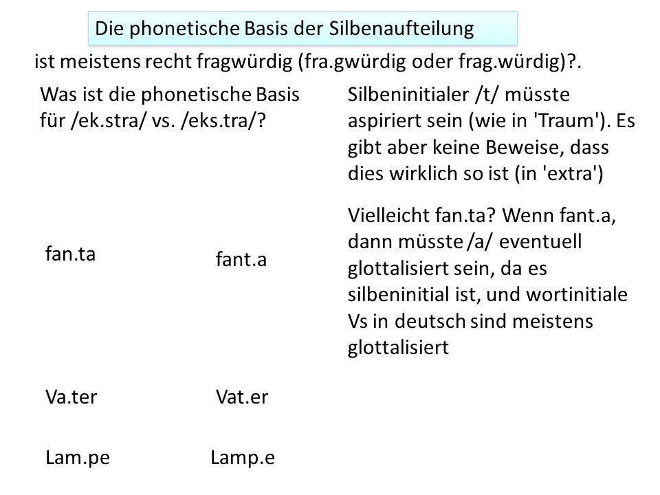 Die phonetische Basis der Silbenaufteilung ist meistens recht fragwürdig (fra.gwürdig oder frag.würdig)?. Was ist die phonetische Basis für /ek.stra/