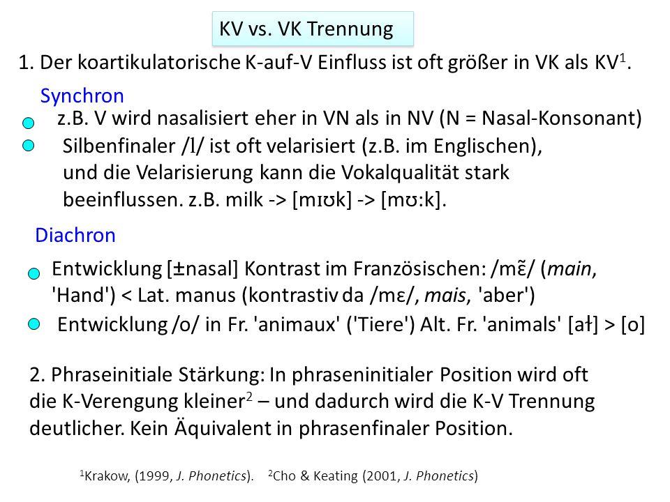 KV vs. VK Trennung 1. Der koartikulatorische K-auf-V Einfluss ist oft größer in VK als KV 1. 2. Phraseinitiale Stärkung: In phraseninitialer Position