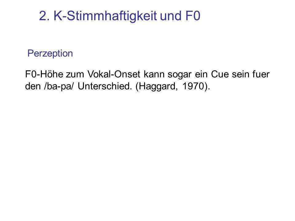2. K-Stimmhaftigkeit und F0 F0 zum Vokalonset ist höher nach stimmlosen Ks [p h a] [ba] (aus Hombert et al, 1979) gilt für alle Obstruenten: [s] vs [z