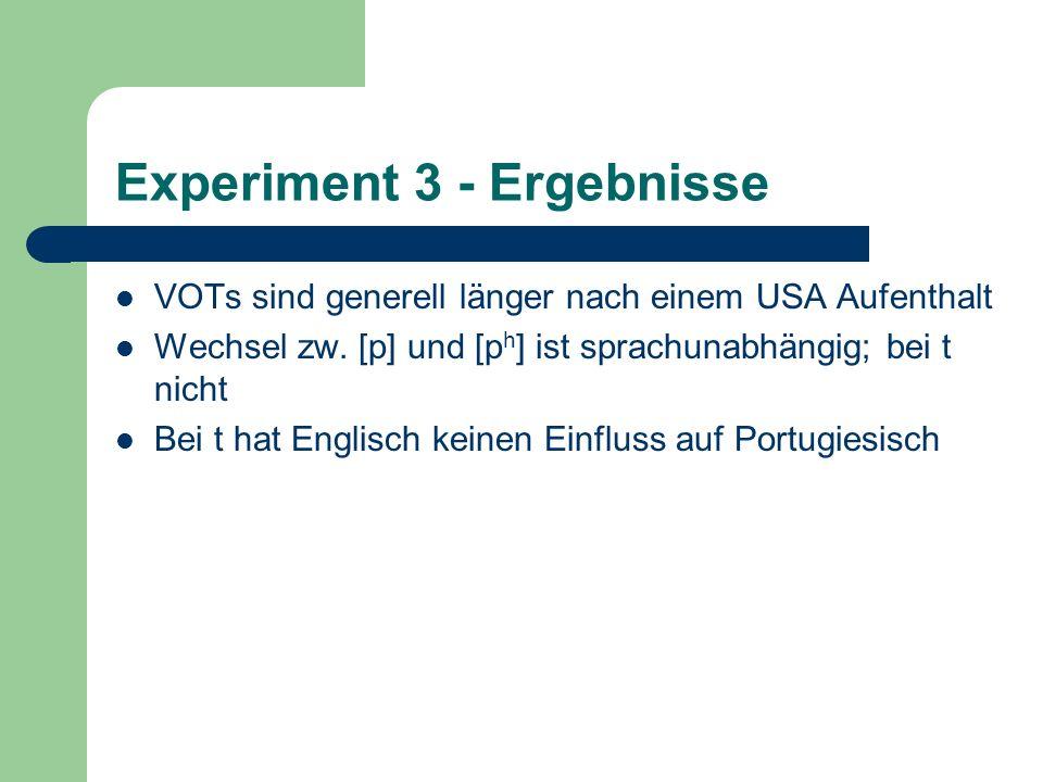 Experiment 3 - Ergebnisse VOTs sind generell länger nach einem USA Aufenthalt Wechsel zw. [p] und [p h ] ist sprachunabhängig; bei t nicht Bei t hat E