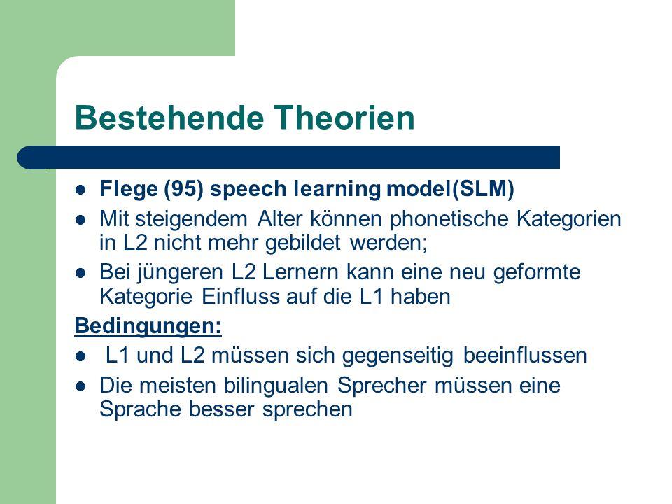 Bestehende Theorien Flege (95) speech learning model(SLM) Mit steigendem Alter können phonetische Kategorien in L2 nicht mehr gebildet werden; Bei jün