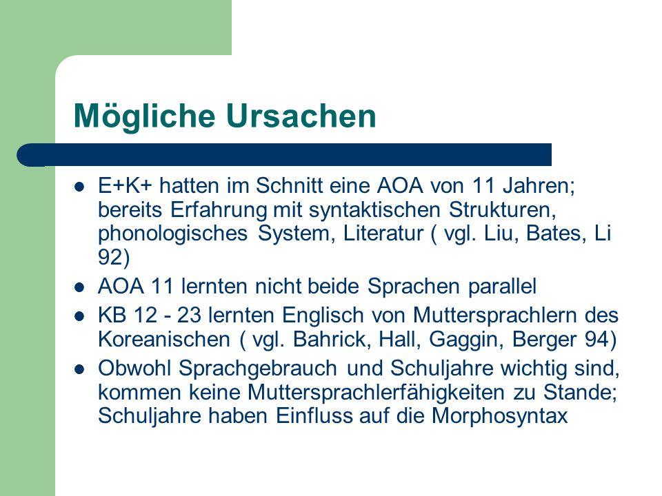 Mögliche Ursachen E+K+ hatten im Schnitt eine AOA von 11 Jahren; bereits Erfahrung mit syntaktischen Strukturen, phonologisches System, Literatur ( vg