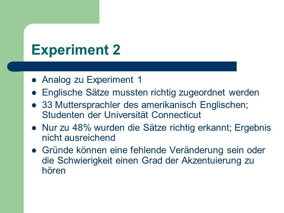 Experiment 2 Analog zu Experiment 1 Englische Sätze mussten richtig zugeordnet werden 33 Muttersprachler des amerikanisch Englischen; Studenten der Un