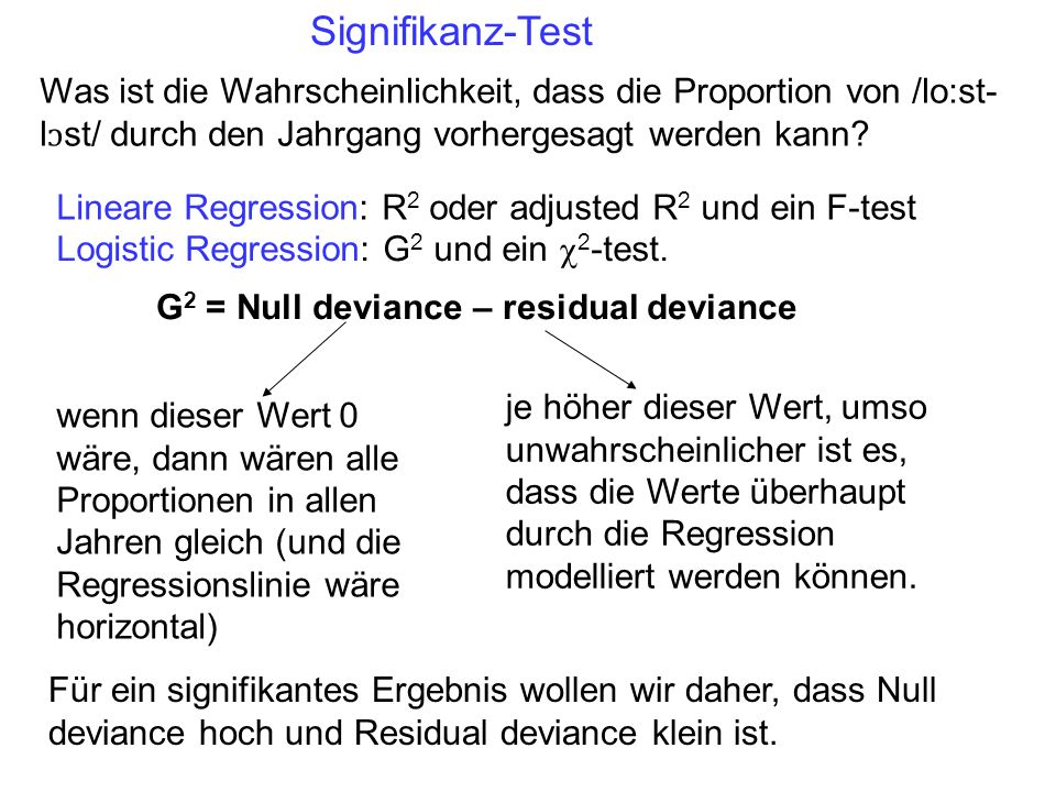Lineare Regression: R 2 oder adjusted R 2 und ein F-test Logistic Regression: G 2 und ein 2 -test.