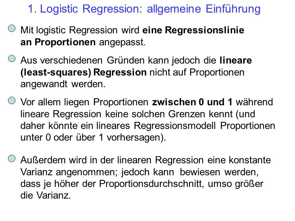 1. Logistic Regression: allgemeine Einführung Mit logistic Regression wird eine Regressionslinie an Proportionen angepasst. Aus verschiedenen Gründen