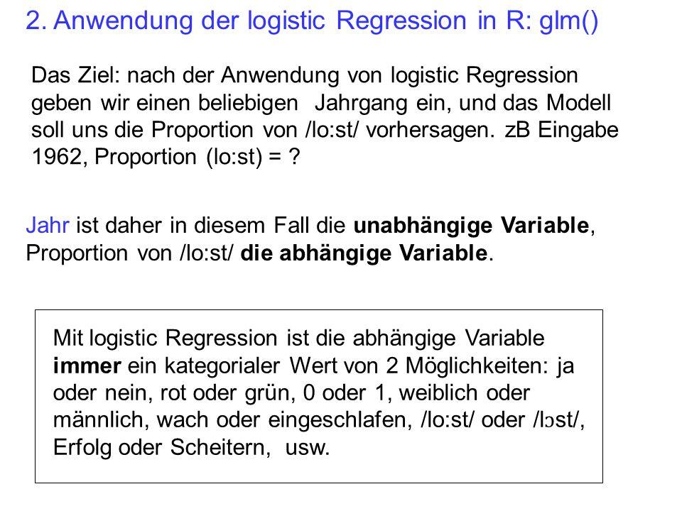 g = glm(lost ~ jahr, binomial) Ergebnis: ein Log- Odd pro Jahr unabhängige Variable (der Jahrgang) bedeutet: logistic Regression ( binomial weil wie in der binomialen Verteilung wir mit 2 Werten (ja/nein, Erfolg/Scheitern zu tun haben).