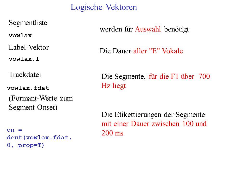 Trackdatei Label-Vektor vowlax.fdat vowlax (Formant-Werte zum Segment-Onset) on = dcut(vowlax.fdat, 0, prop=T) Segmentliste vowlax.l Logische Vektoren werden für Auswahl benötigt Die Dauer aller E Vokale Die Segmente, für die F1 über 700 Hz liegt Die Etikettierungen der Segmente mit einer Dauer zwischen 100 und 200 ms.