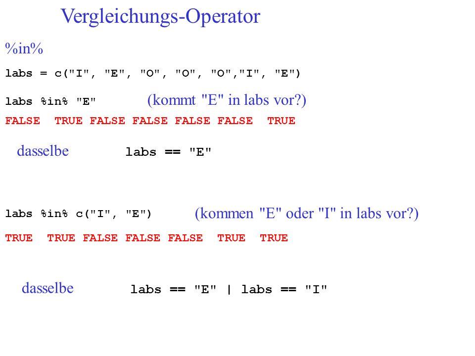 Vergleichungs-Operator %in% labs = c( I , E , O , O , O , I , E ) labs %in% E (kommt E in labs vor?) FALSE TRUE FALSE FALSE FALSE FALSE TRUE labs %in% c( I , E ) (kommen E oder I in labs vor?) TRUE TRUE FALSE FALSE FALSE TRUE TRUE dasselbe labs == E dasselbe labs == E | labs == I