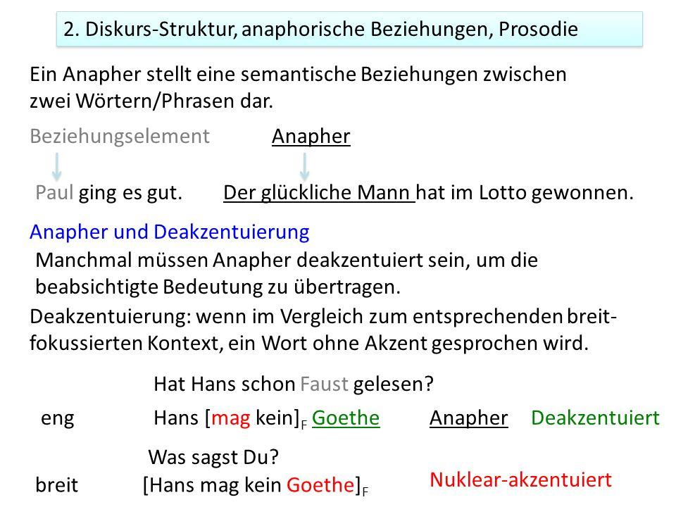 2. Diskurs-Struktur, anaphorische Beziehungen, Prosodie Ein Anapher stellt eine semantische Beziehungen zwischen zwei Wörtern/Phrasen dar. Paul ging e