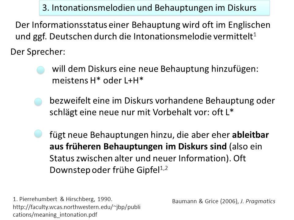 3. Intonationsmelodien und Behauptungen im Diskurs Der Informationsstatus einer Behauptung wird oft im Englischen und ggf. Deutschen durch die Intonat