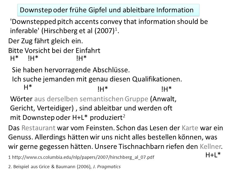 Downstep oder frühe Gipfel und ableitbare Information Downstepped pitch accents convey that information should be inferable (Hirschberg et al (2007) 1.
