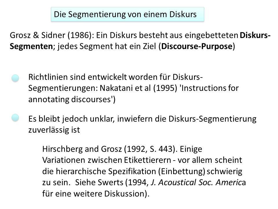 Die Segmentierung von einem Diskurs Grosz & Sidner (1986): Ein Diskurs besteht aus eingebetteten Diskurs- Segmenten; jedes Segment hat ein Ziel (Discourse-Purpose) Richtlinien sind entwickelt worden für Diskurs- Segmentierungen: Nakatani et al (1995) Instructions for annotating discourses ) Es bleibt jedoch unklar, inwiefern die Diskurs-Segmentierung zuverlässig ist Hirschberg and Grosz (1992, S.