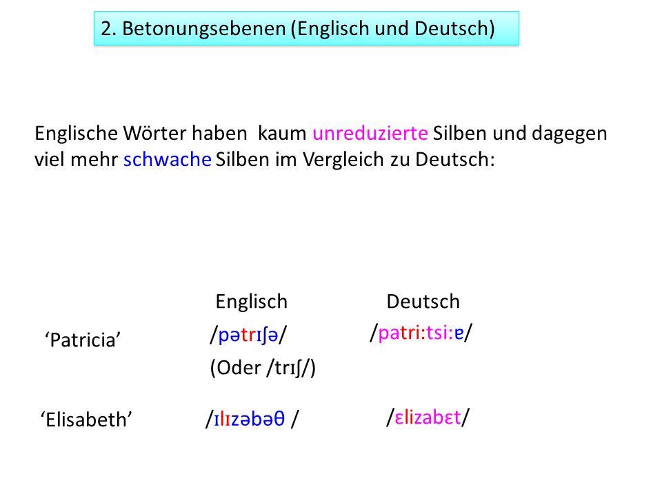 Englische Wörter haben kaum unreduzierte Silben und dagegen viel mehr schwache Silben im Vergleich zu Deutsch: Patricia /pətr ɪ ʃə/ /patri:tsi:ɐ/ (Ode