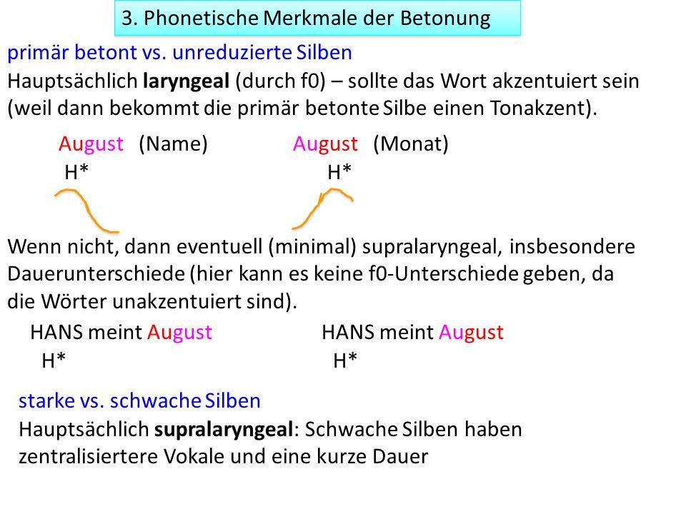 3. Phonetische Merkmale der Betonung primär betont vs. unreduzierte Silben starke vs. schwache Silben Hauptsächlich supralaryngeal: Schwache Silben ha