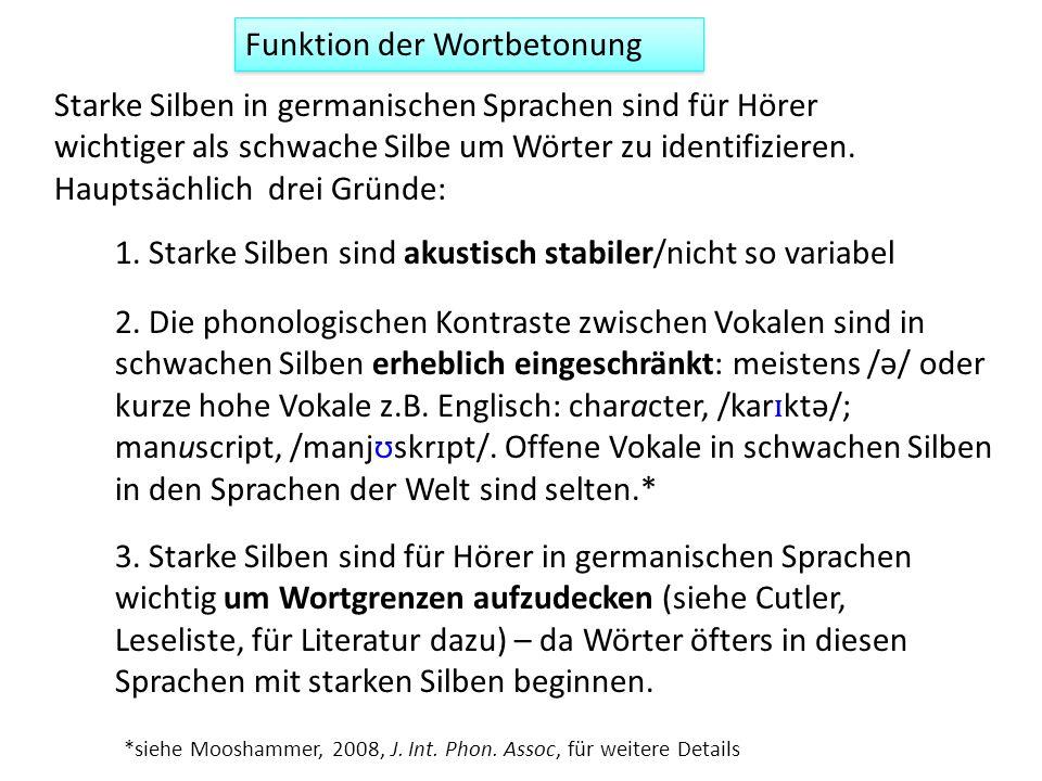 Funktion der Wortbetonung 1. Starke Silben sind akustisch stabiler/nicht so variabel Starke Silben in germanischen Sprachen sind für Hörer wichtiger a
