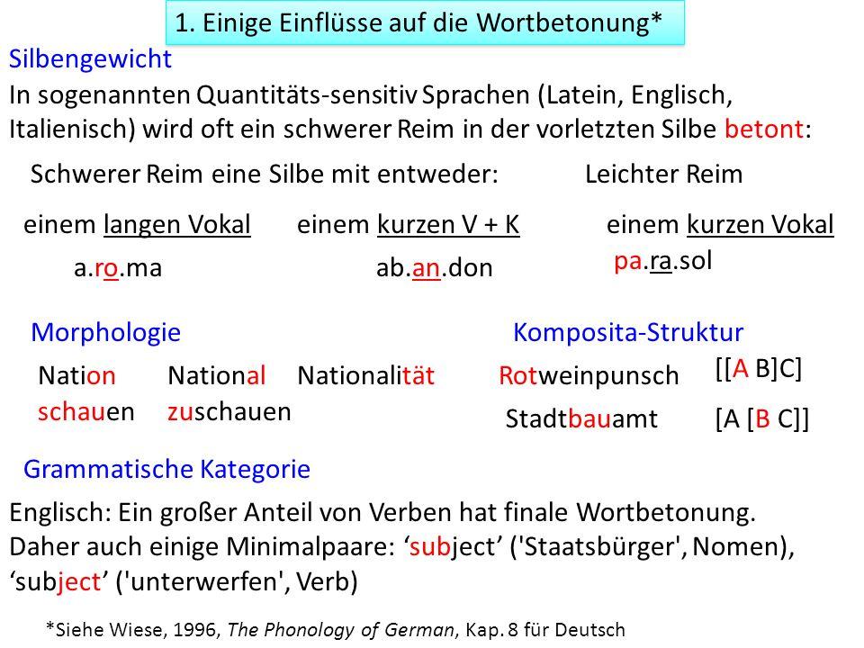 1. Einige Einflüsse auf die Wortbetonung* Morphologie Silbengewicht Grammatische Kategorie Englisch: Ein großer Anteil von Verben hat finale Wortbeton