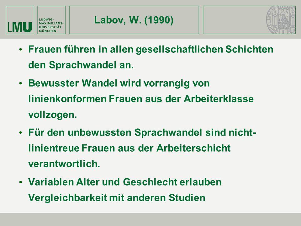 Labov, W. (1990) Frauen führen in allen gesellschaftlichen Schichten den Sprachwandel an. Bewusster Wandel wird vorrangig von linienkonformen Frauen a