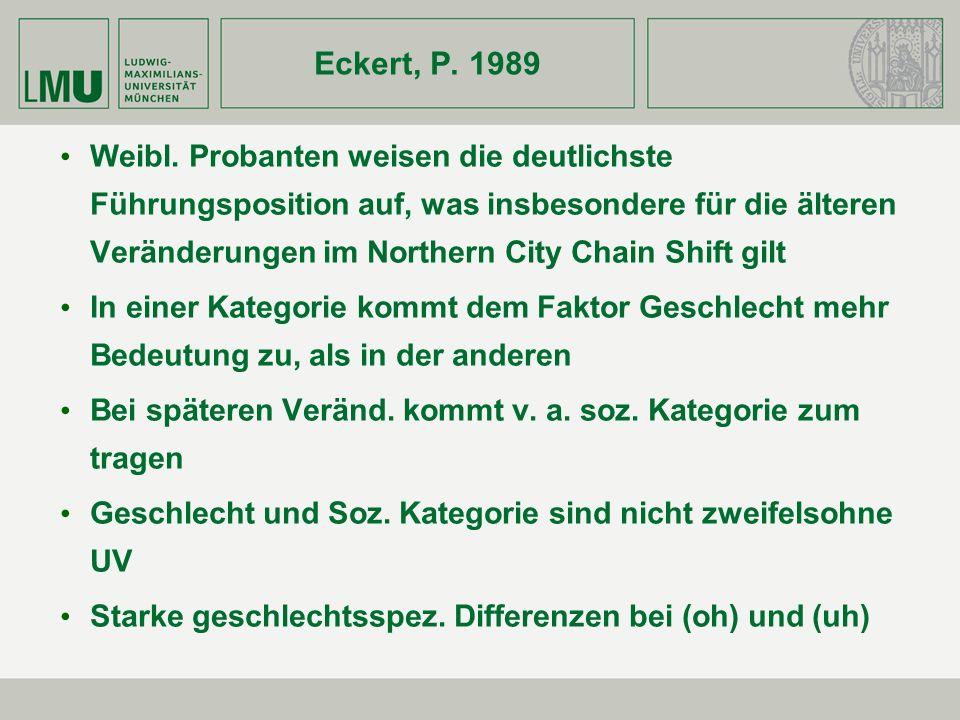 Eckert, P. 1989 Weibl. Probanten weisen die deutlichste Führungsposition auf, was insbesondere für die älteren Veränderungen im Northern City Chain Sh