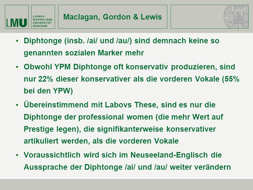 Maclagan, Gordon & Lewis Diphtonge (insb. /ai/ und /au/) sind demnach keine so genannten sozialen Marker mehr Obwohl YPM Diphtonge oft konservativ pro