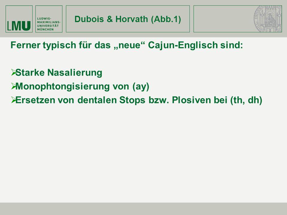 Dubois & Horvath (Abb.1) Ferner typisch für das neue Cajun-Englisch sind: Starke Nasalierung Monophtongisierung von (ay) Ersetzen von dentalen Stops b