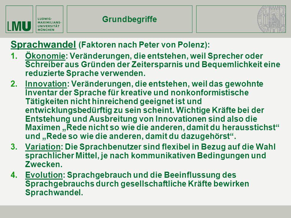 Grundbegriffe Sprachwandel (Faktoren nach Peter von Polenz): Ökonomie: Veränderungen, die entstehen, weil Sprecher oder Schreiber aus Gründen der Zeit
