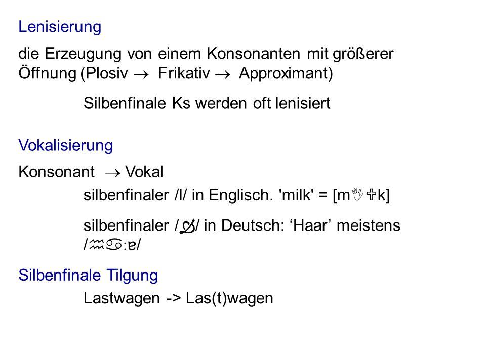 Lenisierung Vokalisierung Silbenfinale Tilgung Lastwagen -> Las(t)wagen Silbenfinale Ks werden oft lenisiert die Erzeugung von einem Konsonanten mit größerer Öffnung (Plosiv Frikativ Approximant) silbenfinaler /l/ in Englisch.