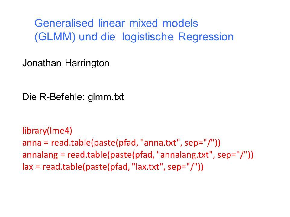 Wie im Mixed Model gibt es in einem GLMM mindestens einen Random Factor, mit dem die Variabilität ausgeklammert werden kann.