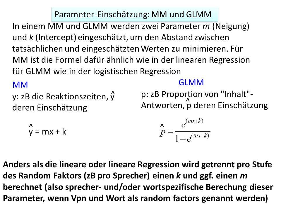 Parameter-Einschätzung: MM und GLMM In einem MM und GLMM werden zwei Parameter m (Neigung) und k (Intercept) eingeschätzt, um den Abstand zwischen tat