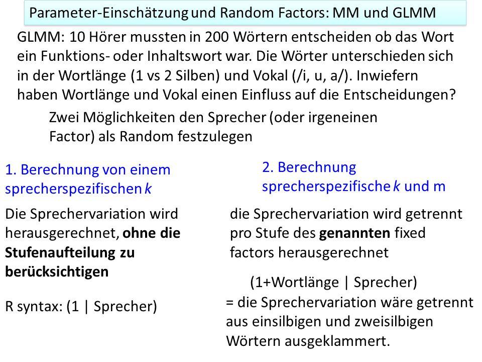 GLMM, Psychometrische Kurven, Umkipppunkte Data-Frame lax S A C Stim P Q 2146 ELWI O sVt 1100 5 0 2151 ELWI O sVt 1164 5 0 2156 ELWI O sVt 1231 5 0 2161 ELWI O sVt 1301 5 0 2166 ELWI O sVt 1374 5 0 2171 ELWI O sVt 1450 5 0 Die relevanten Variablen HörerAltersgruppeF2/U/ Antworten /I/ Anworten zB Hörer ELWI (Altersgruppe Old) antwortete 5 Mal mit /U/ (und kein Mal mit /I/) zu dem Vokal-Stimulus mit F2 = 1100 Hz.