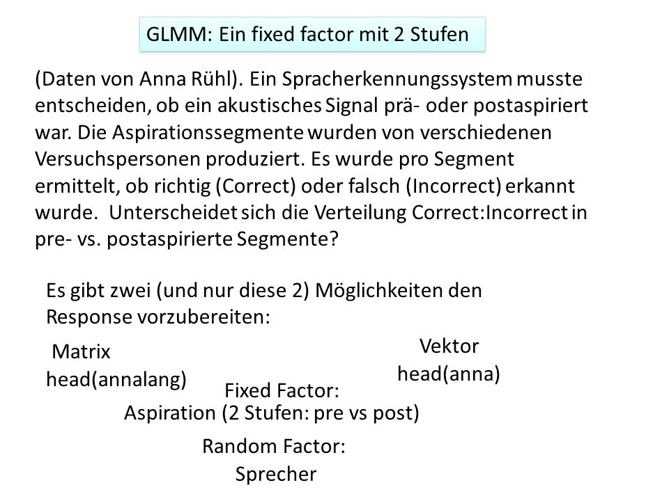 GLMM: Ein fixed factor mit 2 Stufen (Daten von Anna Rühl). Ein Spracherkennungssystem musste entscheiden, ob ein akustisches Signal prä- oder postaspi