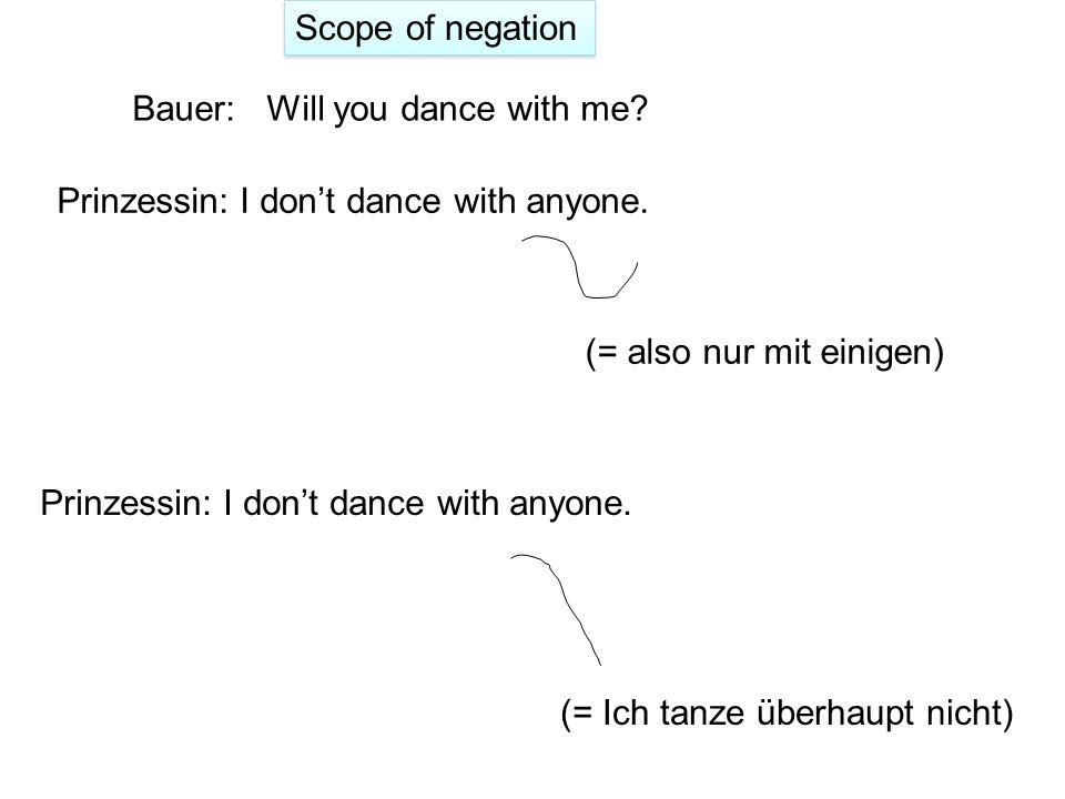 'Scope of negation': Gruppenauswahl in einer negativen Konstruktion (Aber dass ich andere Gartenarbeiten erledige – das schließ ich nicht aus). A. Jus