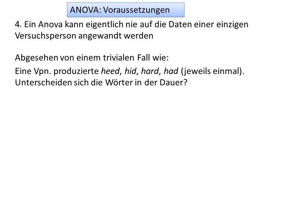 ANOVA: Voraussetzungen 4. Ein Anova kann eigentlich nie auf die Daten einer einzigen Versuchsperson angewandt werden Eine Vpn. produzierte heed, hid,