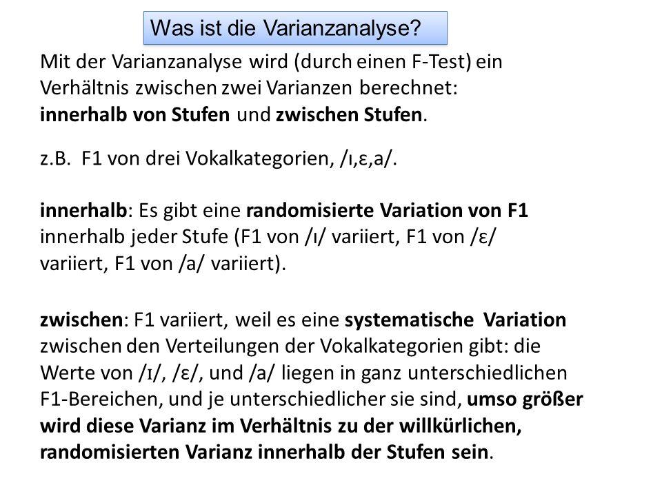 Was ist die Varianzanalyse? Mit der Varianzanalyse wird (durch einen F-Test) ein Verhältnis zwischen zwei Varianzen berechnet: innerhalb von Stufen un