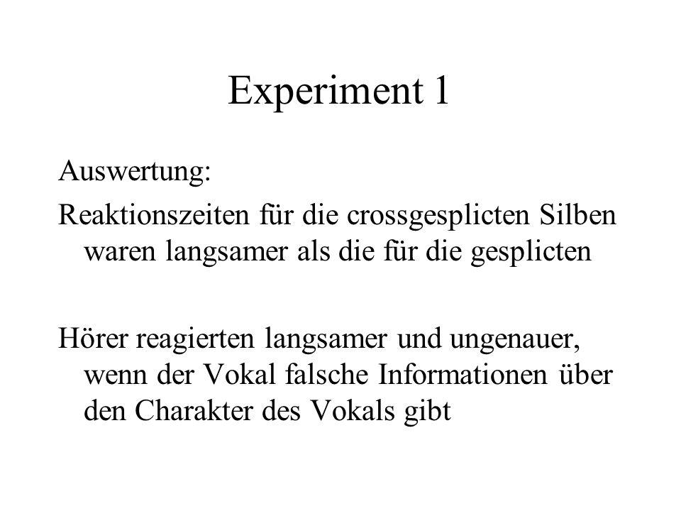 Experiment 1 Auswertung: Reaktionszeiten für die crossgesplicten Silben waren langsamer als die für die gesplicten Hörer reagierten langsamer und ungenauer, wenn der Vokal falsche Informationen über den Charakter des Vokals gibt