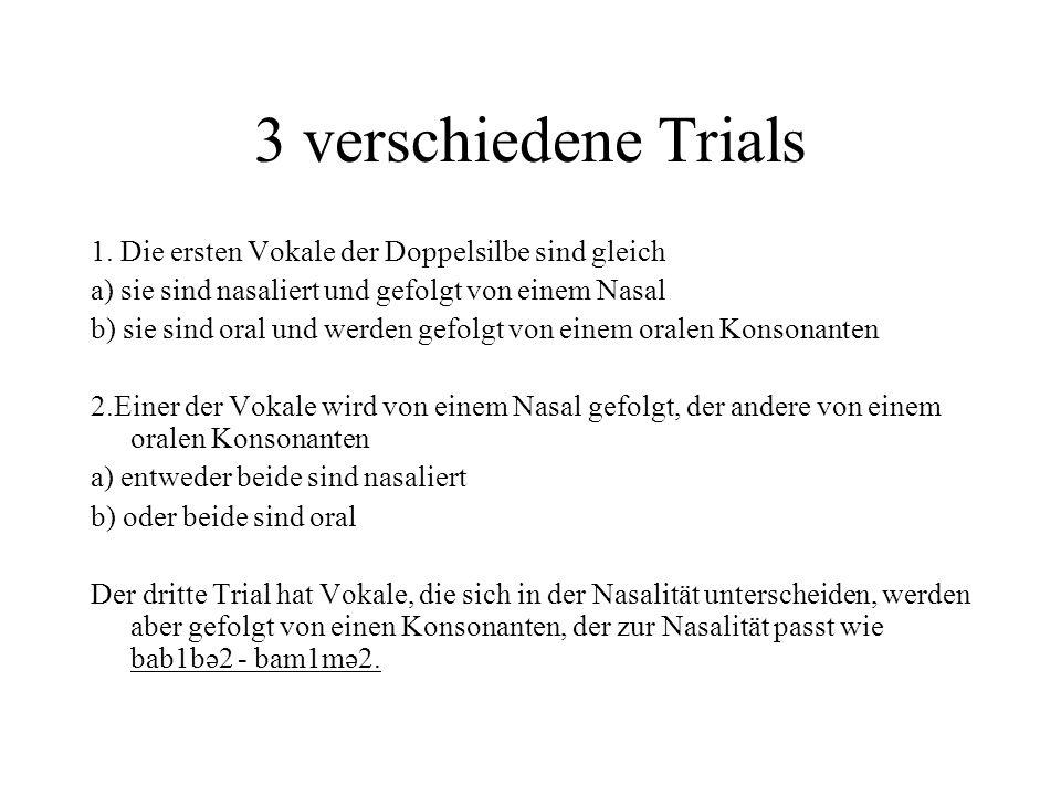 3 verschiedene Trials 1. Die ersten Vokale der Doppelsilbe sind gleich a) sie sind nasaliert und gefolgt von einem Nasal b) sie sind oral und werden g