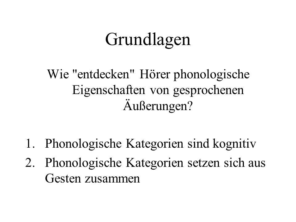Grundlagen Wie entdecken Hörer phonologische Eigenschaften von gesprochenen Äußerungen.