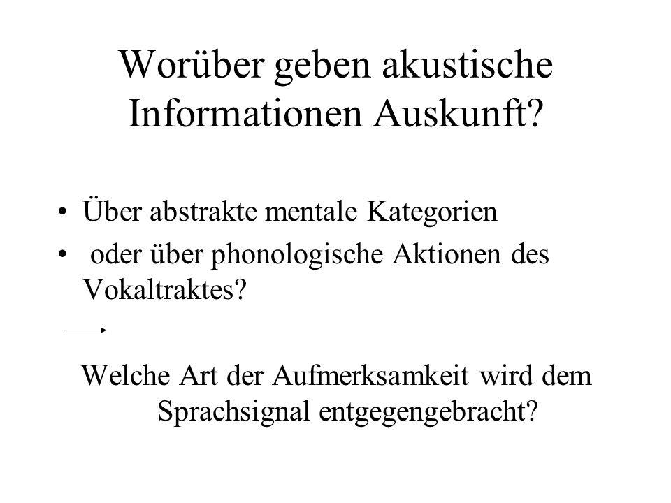 Worüber geben akustische Informationen Auskunft? Über abstrakte mentale Kategorien oder über phonologische Aktionen des Vokaltraktes? Welche Art der A
