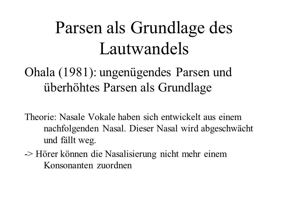 Parsen als Grundlage des Lautwandels Ohala (1981): ungenügendes Parsen und überhöhtes Parsen als Grundlage Theorie: Nasale Vokale haben sich entwickel