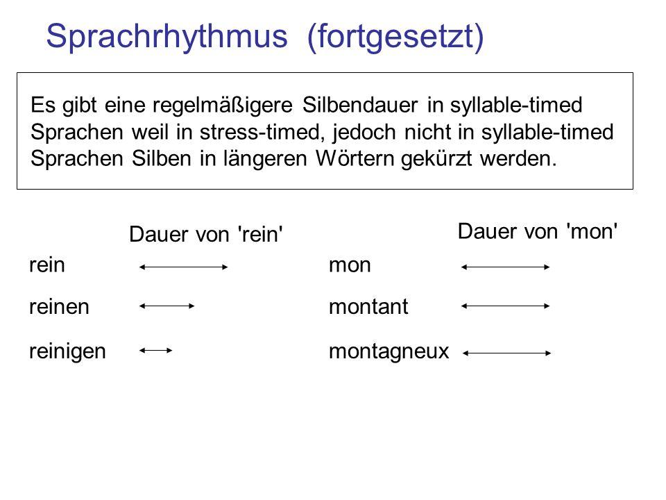 Es gibt eine regelmäßigere Silbendauer in syllable-timed Sprachen weil in stress-timed, jedoch nicht in syllable-timed Sprachen Silben in längeren Wörtern gekürzt werden.