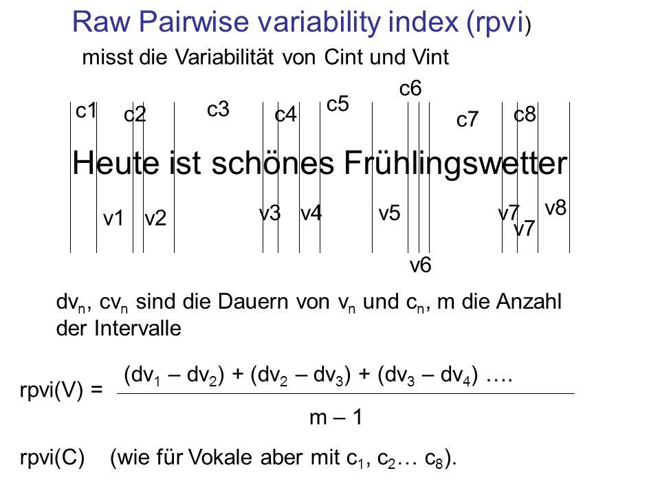Raw Pairwise variability index (rpvi ) Heute ist schönes Frühlingswetter v1v2 v3v4v5 v6 v7 v8 (dv 1 – dv 2 ) + (dv 2 – dv 3 ) + (dv 3 – dv 4 ) ….
