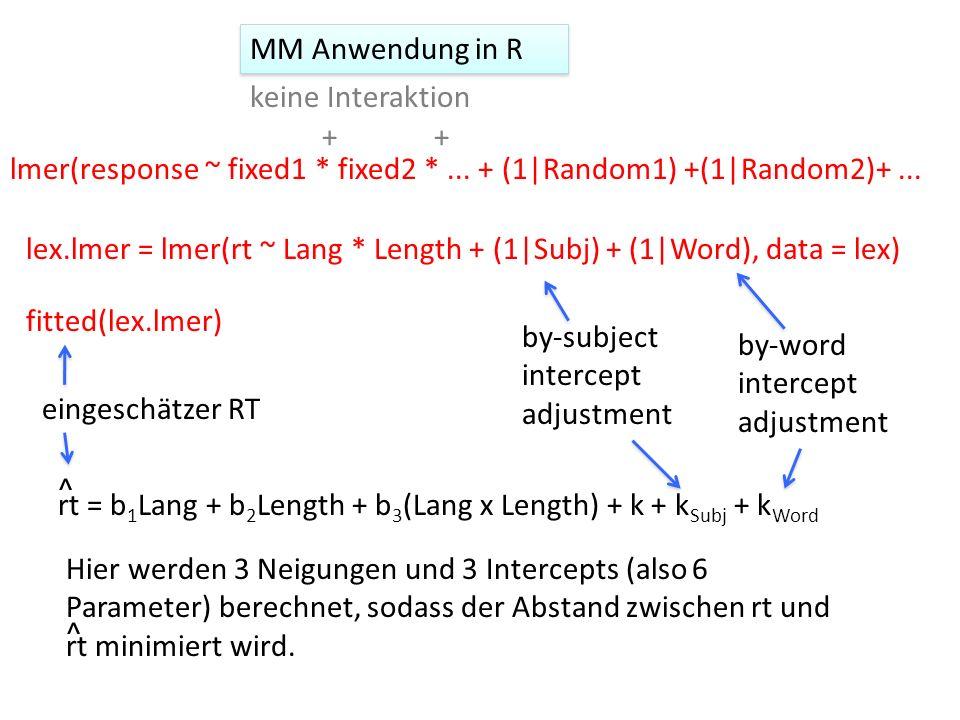 lmer(response ~ fixed1 * fixed2 *... + (1|Random1) +(1|Random2)+... lex.lmer = lmer(rt ~ Lang * Length + (1|Subj) + (1|Word), data = lex) ++ keine Int