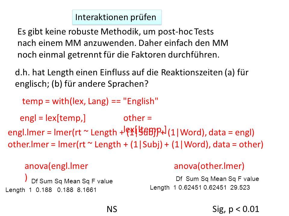Interaktionen prüfen Es gibt keine robuste Methodik, um post-hoc Tests nach einem MM anzuwenden. Daher einfach den MM noch einmal getrennt für die Fak