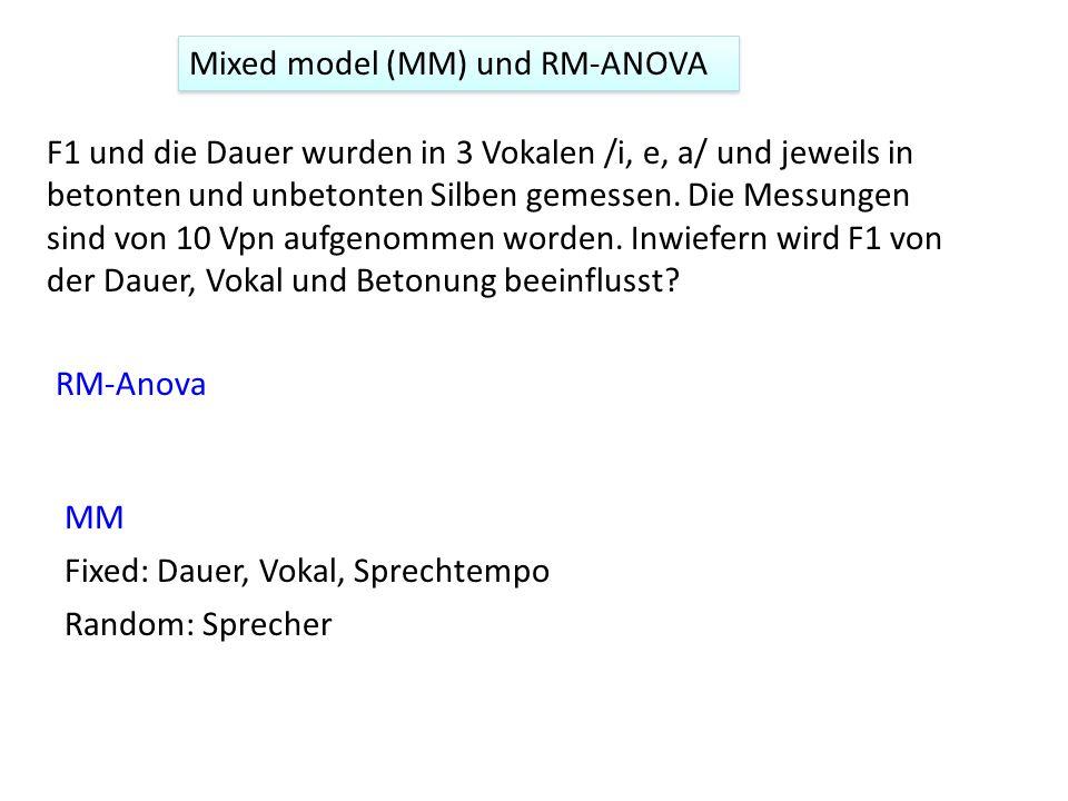 Mixed model (MM) und RM-ANOVA F1 und die Dauer wurden in 3 Vokalen /i, e, a/ und jeweils in betonten und unbetonten Silben gemessen. Die Messungen sin