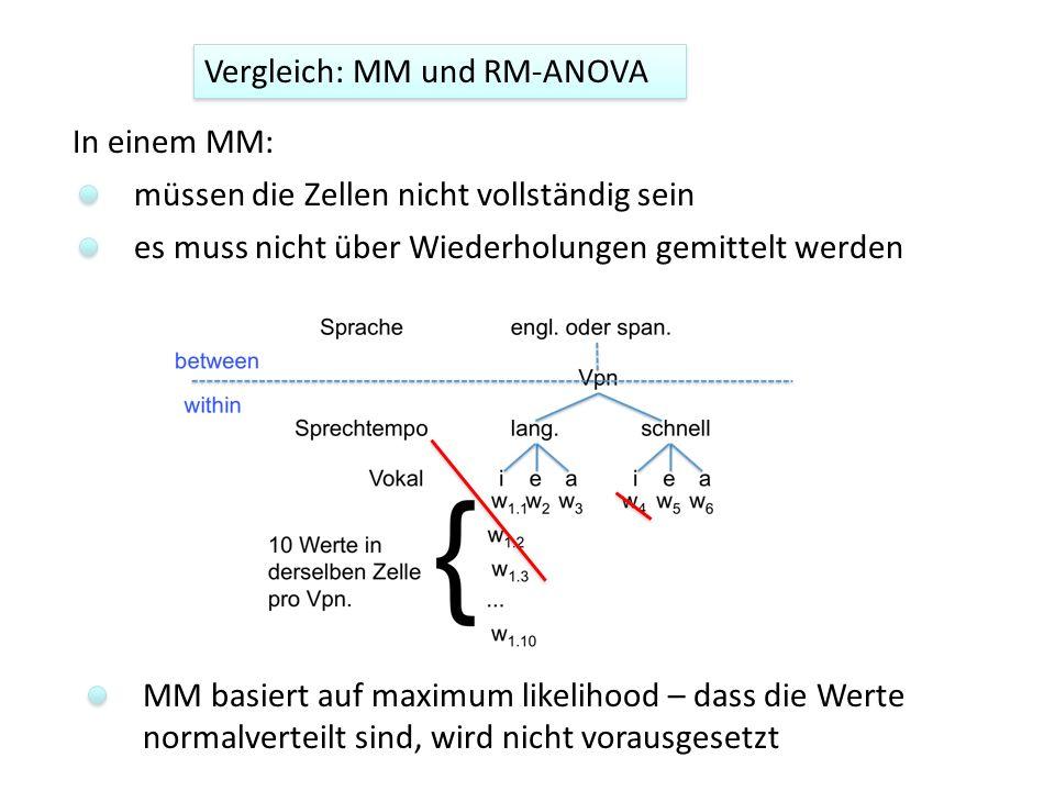 müssen die Zellen nicht vollständig sein es muss nicht über Wiederholungen gemittelt werden MM basiert auf maximum likelihood – dass die Werte normalv