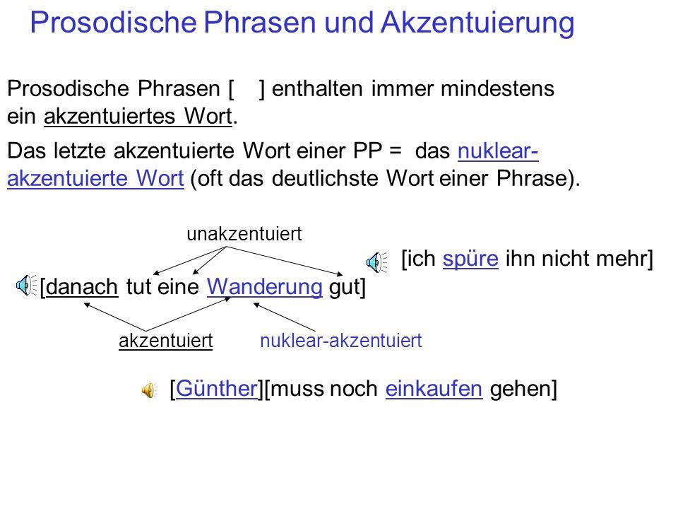 Satzbetonung oder Akzent In einer prosodischen Phrase können ein oder mehrere Wörter akzentuiert werden. Akzentuierte Wörter sind im Verhältnis zu una